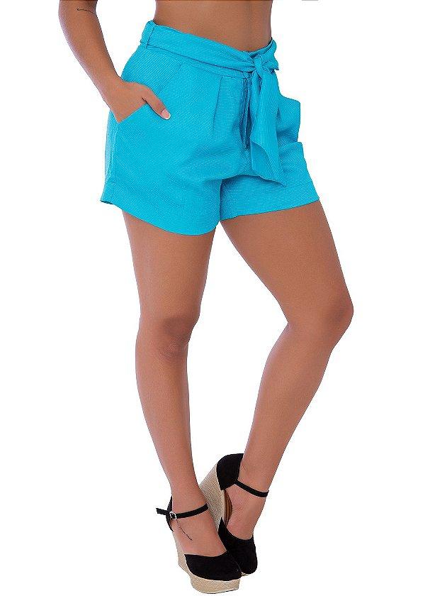 Short Cintura Alta com Cinto Ajustável Azul