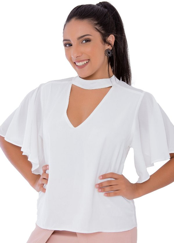 Blusa em Crepe Decote Choker Off White