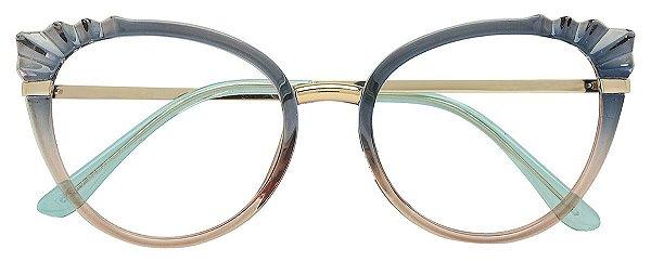 Armação Óculos Receituário AT 5020 Azul Degrade Marrom