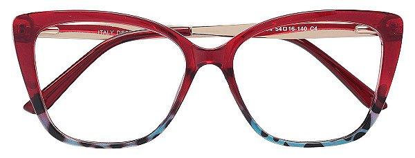 Armação Óculos Receituário AT 2104 Vermelho/Azul Mesclado