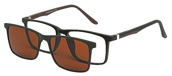 Armação Óculos Receituário e Sol Clipon Com 1 Lente AT 5031 Marrom