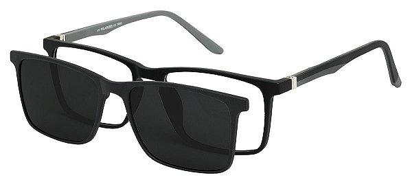 Armação Óculos Receituário e Sol Clipon Com 1 Lente AT 5031 Preto Fosco/Cinza
