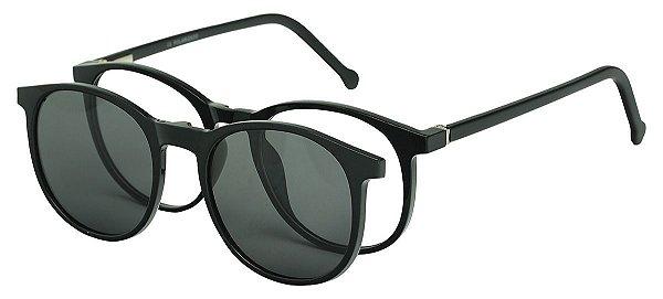 Armação Óculos Receituário e Sol Clipon Com 1 Lente AT 5020 Preto