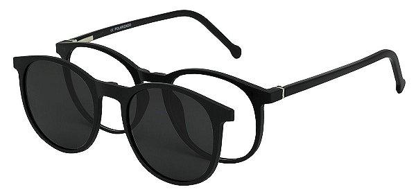 Armação Óculos Receituário e Sol Clipon Com 1 Lente AT 5020 Preto Fosco