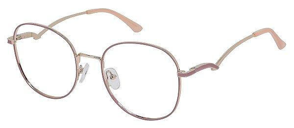 Armação Óculos Receituário AT 1020 Rosa/Dourado