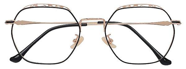 Armação Óculos Receituário AT 9162 Dourado/Preto Hexagonal