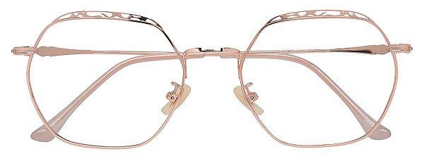 Armação Óculos Receituário AT 9162 Dourado Hexagonal