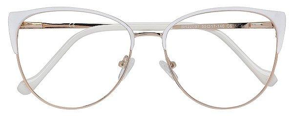 Armação Óculos Receituário AT 22097 Branco/Dourado