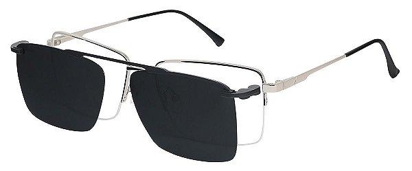 Armação Óculos Receituário e Sol Clipon Com 1 Lente AT 88016 Prata
