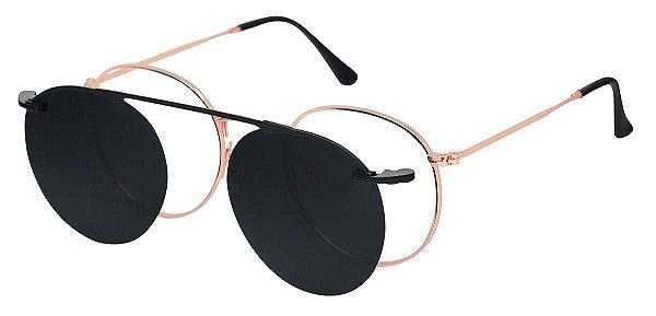 Armação Óculos Receituário e Sol AT 3040 Clipon Ouro Velho com 1 Lente