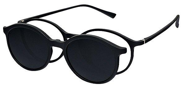 Armação Óculos Receituário e Sol Clipon Com 1 Lente AT 2223 Preto