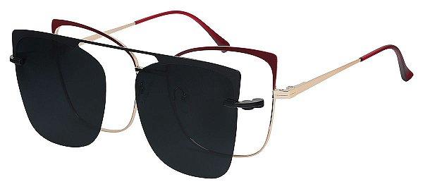 Armação Óculos Receituário e Sol Clipon Com 1 Lente AT 88023 Vermelho/Dourado