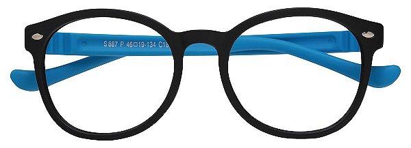 Armação Óculos Receituário Infantil AT 887 Preto/Azul (08 A 17 Anos)