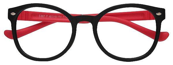Armação Óculos Receituário Infantil AT 887 Preto/Vermelho (08 A 17 Anos)