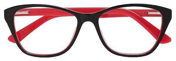 Armação Óculos Receituário AT 1023 Preto/Vermelho