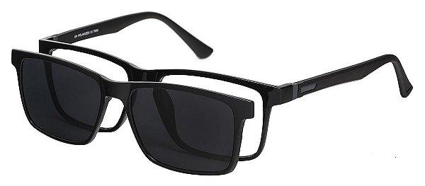 Armação Óculos Receituário e Sol Clipon Com 1 Lente AT 5024 Preto
