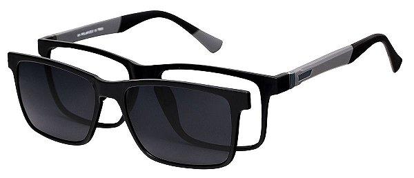 Armação Óculos Receituário e Sol Clipon Com 1 Lente AT 5024 Preto/Cinza