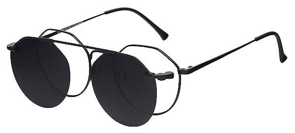 Armação Óculos Receituário e Sol Clipon Com 1 Lente AT 3045 Preto