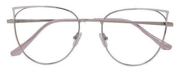 Armação Óculos Receituário AT 1038 Branco/Dourado