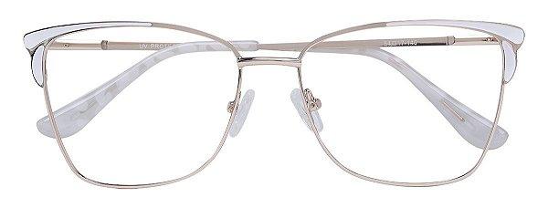 Armação Óculos Receituário AT 1028 Branco/Dourado