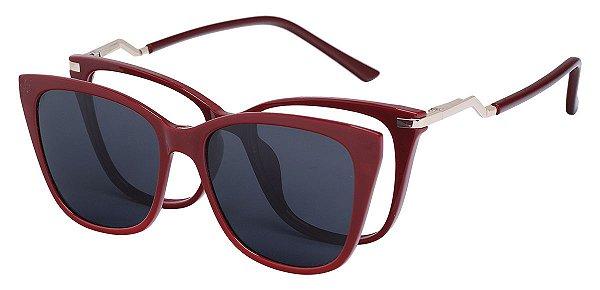 Armação Óculos Receituário e Sol Clipon Com 1 Lente AT 5213 Vinho