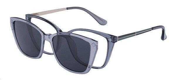 Armação Óculos Receituário e Sol Clipon Com 1 Lente AT 5215 Cinza Transparente