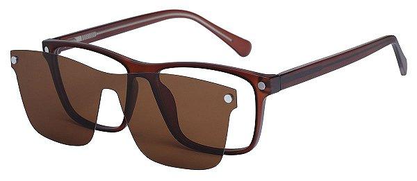 Armação Óculos Receituário e Sol Clipon Com 1 Lente AT 206049 Marrom