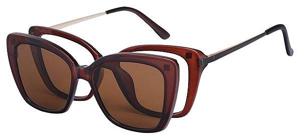 Armação Óculos Receituário e Sol Clipon Com 1 Lente AT 206035 Marrom