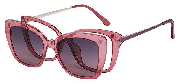 Armação Óculos Receituário e Sol Clipon Com 1 Lente AT 206035 Vermelho Transparente
