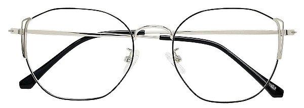Armação Óculos Receituário AT  2010 Preto/Prata