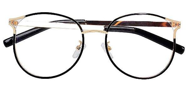 Armação Óculos Receituário AT 1787 Preto/Dourado