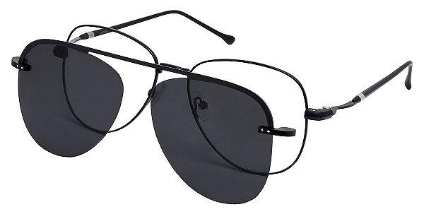 Armação Óculos Receituário e Sol Aviador 3006 Clipon com 1 Lente Polarizado Preto