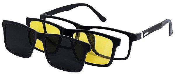 Armação Óculos Receituário e Sol 9035 Clipon com 2 Lentes Polarizado Preto/Cinza