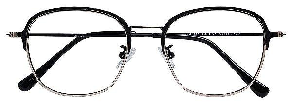 Armação Óculos Receituário AT 9134 Prata/Preto