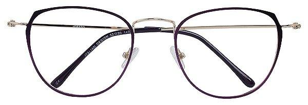 Armação Óculos Receituário AT 9129 Vinho Metálico/Dourado