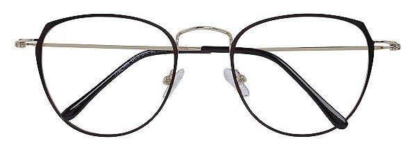 Armação Óculos Receituário AT 9129 Marrom Metálico/Dourado