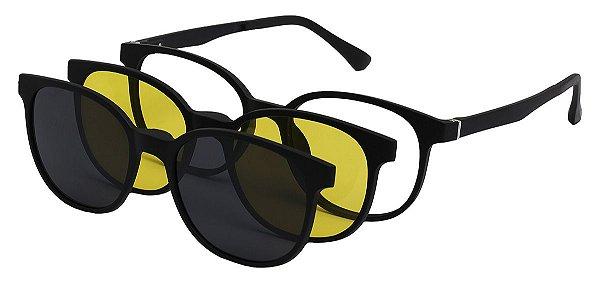 Armação Óculos Receituário e Sol 3513 Clipon Com 2 Lentes Preto