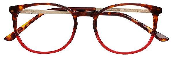 Armação Óculos Receituário AT 6659 Tartargua/Vermelho Degradê