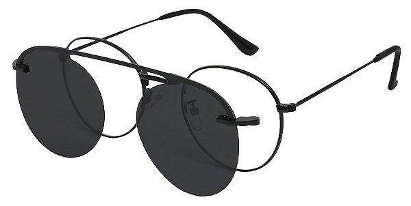 Armação Óculos Receituário e Sol 013 Clipon Preto com 1 Lente Polarizado