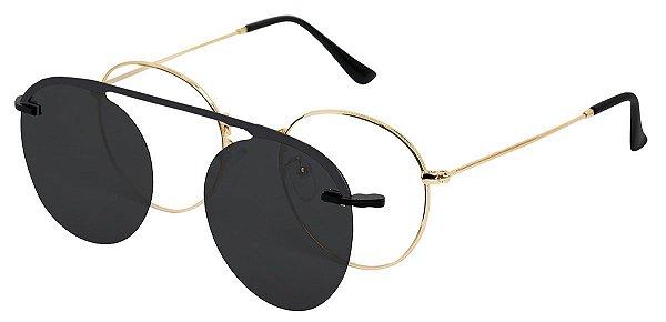 Armação Óculos Receituário e Sol 3040 Clipon Dourado com 1 Lente