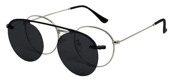 Armação Óculos Receituário e Sol 3040 Clipon Prata com 1 Lente