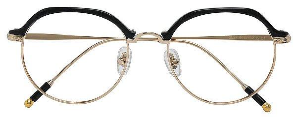 Armação Óculos Receituário AT 3033 Preto/Dourado