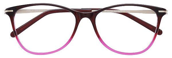 Armação Óculos Receituário AT 8239 Vinho Degradê/Rosa