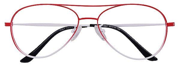 Armação Óculos Receituário AT 1982 Vermelho Aviador