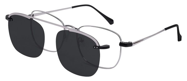 Oculos Armação Grau e Sol Clipon Masculino AT 3008 com 2 Lentes Prata/Preto