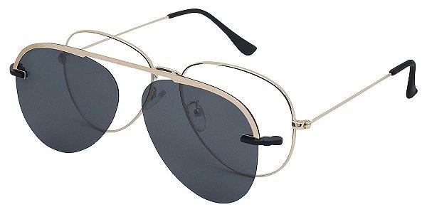 Armação Óculos Receituário e Sol Clipon Com 1 Lente AT 012 Dourado