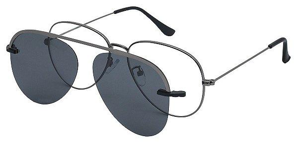 Armação Óculos Receituário e Sol Clipon Com 1 Lente AT 012 Chumbo