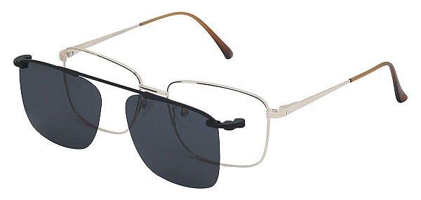 Armação Óculos Receituário e Sol 88003 Clipon com 1 Lente Polarizado Dourado