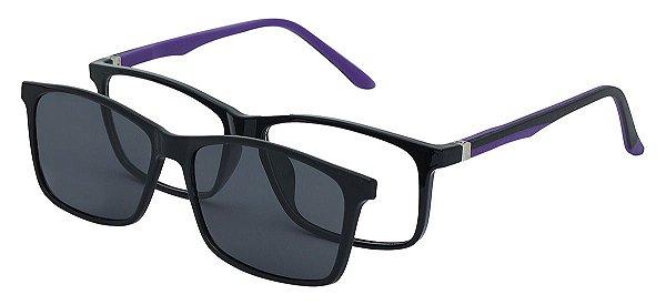 Armação Óculos Receituário e Sol 6011 Clipon com 1 Lente Polarizado Preto/Roxo