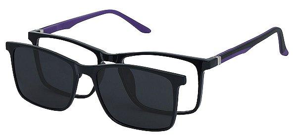 Armação Óculos Receituário e Sol 6012 Clipon com 1 Lente Polarizado Preto/Roxo